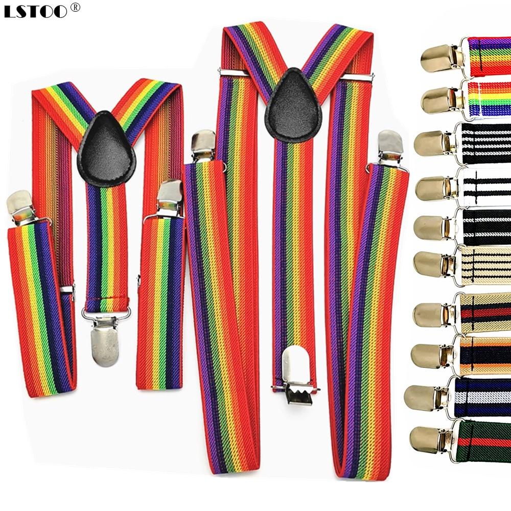 New Men Women Boys Girls Suspenders Red White Rainbow Colorful Striped Suspender Suspensorio Adult Kids Y-back Braces