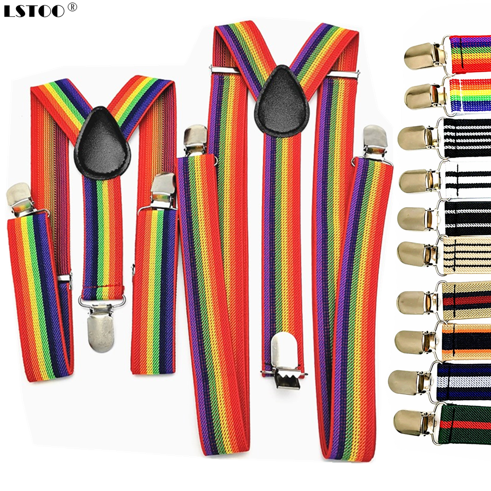New Men Women Boys Girls Suspenders Red White Rainbow Colorful Striped Suspender Suspensorio Adult Baby Y-back Braces