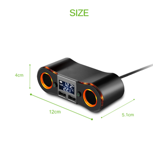 Image 3 - 3.5a 듀얼 usb 차량용 충전기 powstro 담배 라이터 소켓 led 디스플레이 충전기 아이폰 xiaomi 자동차 분배기 전원 어댑터
