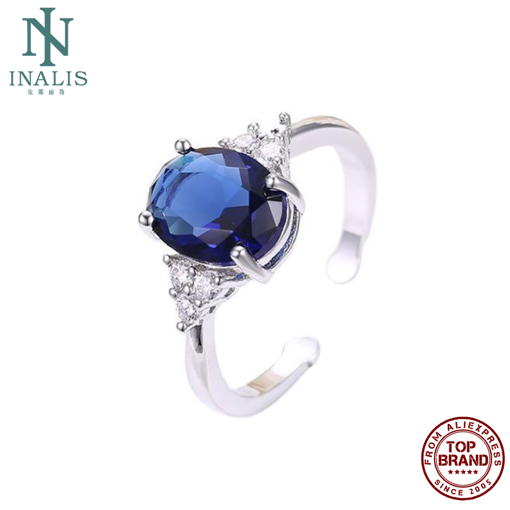 INALIS Romantic Couple Rings For Women Fashion Jewelry Oval Royal Blue Cubic Zircon Copper Ring Engagement Party Accessories