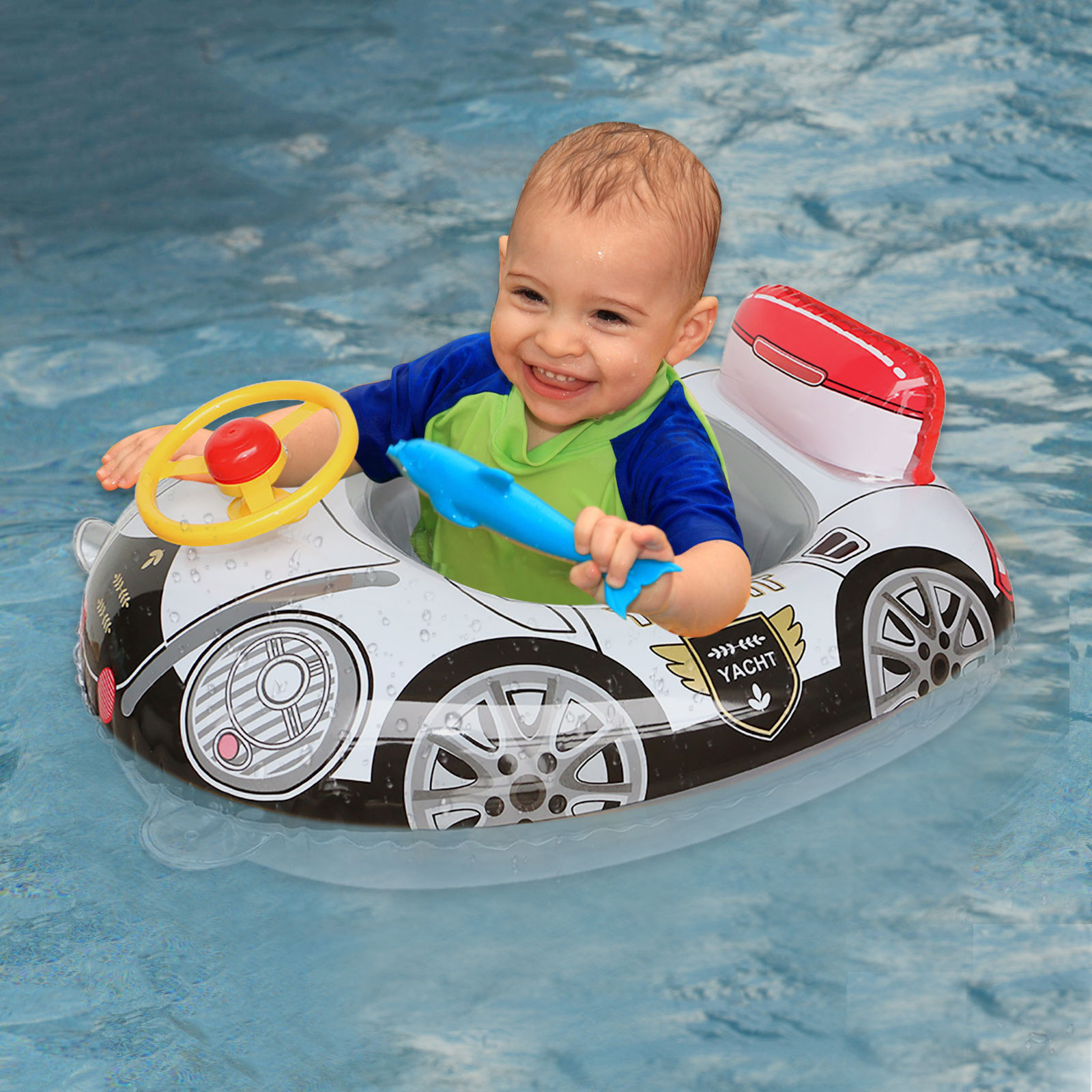 Cartoon Car Swimming Ring for Kids PVC Inflatable Swimming Ring Summer Outdoor Swimming Pool Floats Kids Swimming Toys 70x55cm