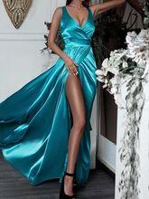Атласные вечерние платья в пол с v образным вырезом трапециевидного