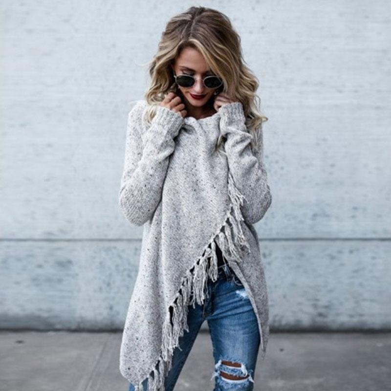 Autumn Winter Long Section Slim Warm Slant Distressed Sweater Irregular Knit Women Cardigans Long Sleeve Tassel Sweater 2019