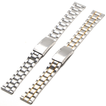 Stainless Steel Watch Strap Wrist Bracelet Silver Color Metal Watchband with Folding Clasp for Men Women 18mm 20mm 22mm high quality silver 18mm 20mm stainless steel watchbands strap bracelet for men women watches replacement with spring bars