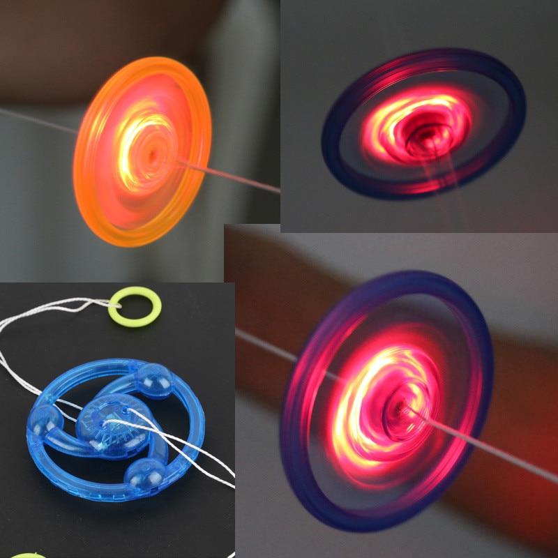 New 5pcs Hand Pull Luminous Flashing Rope Flywheel Toy LED Light Up Novelty Flash Funny Gyro Toy For Children's Birthday Gift