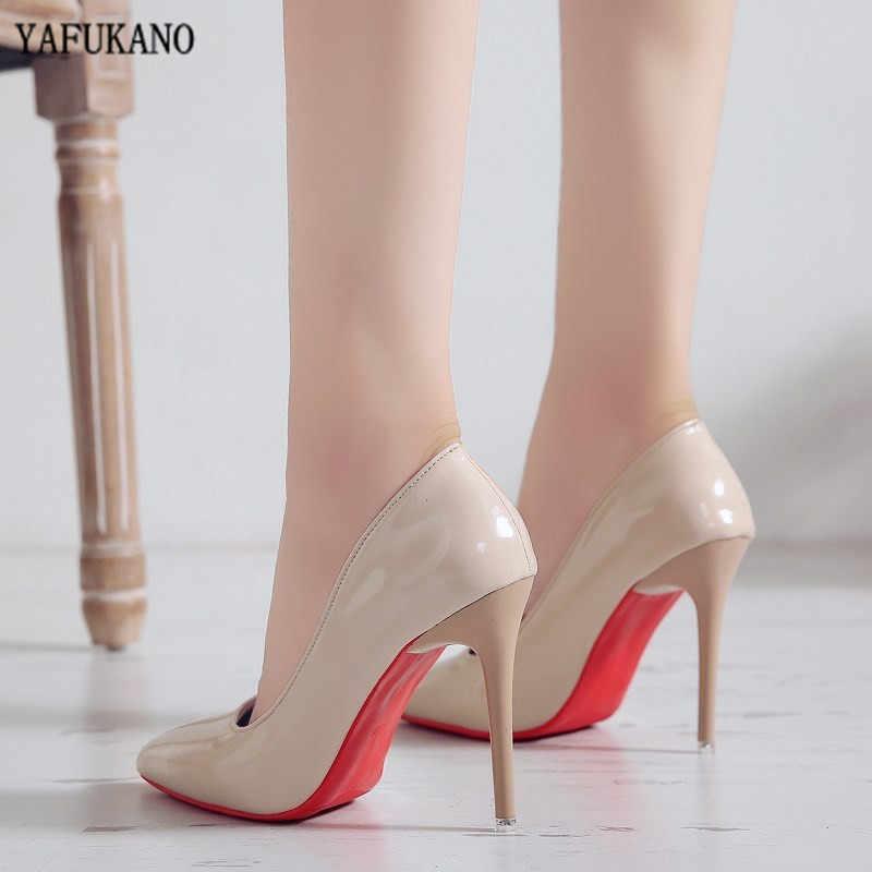 Gợi Cảm Màu Nude Giày Cao Gót Thời Trang 10 Cm Mỏng Gót Bơm Bằng Sáng Chế Da Đỏ Đế Giày Đơn Tiệc Cưới Người Phụ Nữ giày