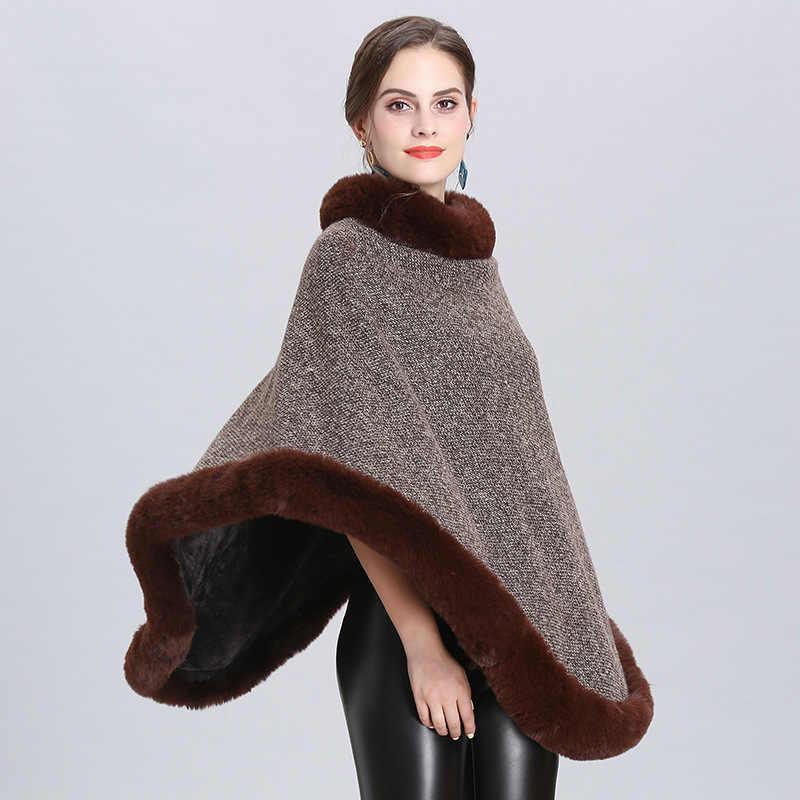 Yeni bahar kadın pelerinler panço Faux Fox kürk haki şal örme üçgen kürk kazak artı boyutu kazak ceket kürk yaka