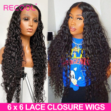 Water Wave 6x6 Closure Wig Brazilian Curly Human Hair Wigs 13x6 Lace Front Hair Wigs 250 Density Ear to Ear Lace Frontal Wig