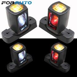 1 Pair 4 LEDs Marker Side Light 10-30v Truck Side Lamp 3 Faces Red Amber White Color Lighting For Trailer Truck Van Lorry