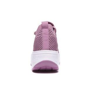 Image 5 - WDZKN baskets tendance maille dair compensé pour femmes, chaussures tendance à talon compensé, chaussettes tricotées, plateforme pour femmes, chaussures décontractées H668