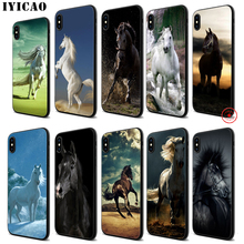 IYICAO Fine horse art Soft Black Silicone Case for iPhone 11 Pro Xr Xs Max X or 10 8 7 6 6S Plus 5 5S SE
