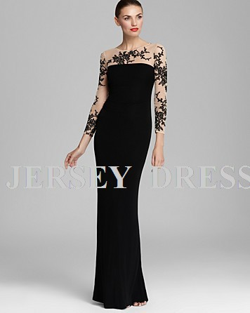 Free Shipping Long Sleeve Special Occasion Embroidered Forma Floor Length Plus Size Black Long Evening Mother Of The Bride Dress