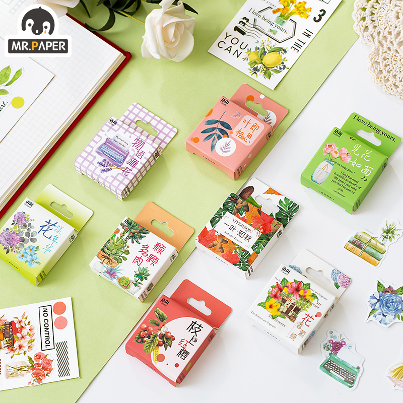 Mr.paper 8 Styles 50pcs Stickers Paste Plant Style Flower Butterfly Plant Creative Bullet Journal Sc