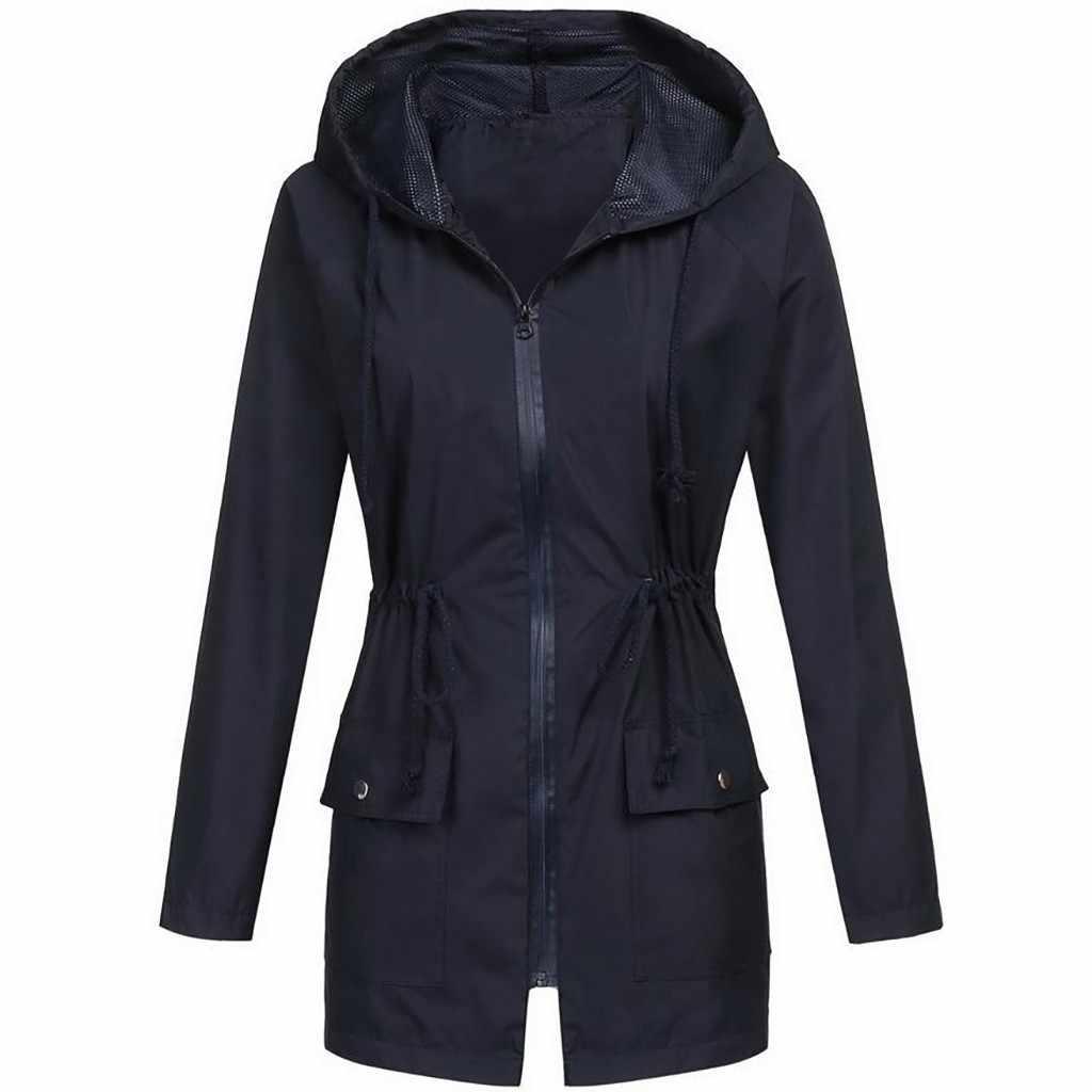 女性固体レインジャケット屋外プラスサイズ防水 Hooded レインコート防風クイックドライハイキングジャケットウインドブレーカージッパーの上着
