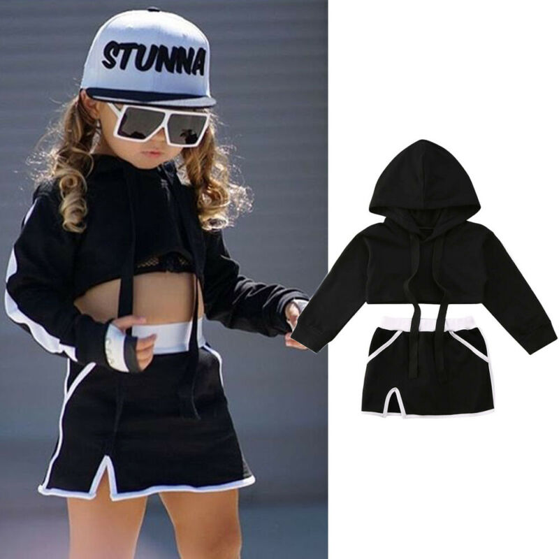 US Summer Toddler Kid Baby Girl Hooded Crop Tops Pants Outfits Tracksuit Clothes