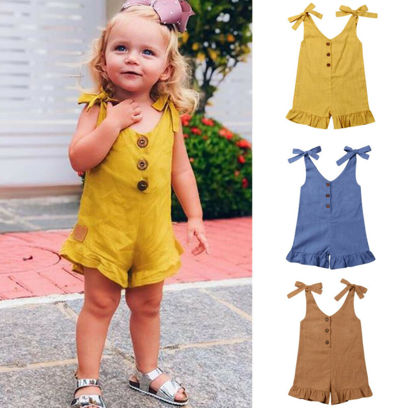 Toddler Kids Baby Girls Bowknot Romper Tops Jumpsuit Playsuit Outfit Shorts
