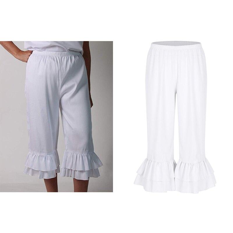 TiaoBug Ladies Retro Vintage Elastic Waist Ruffles Hem Pantaloons Bloomers Victorian Era Costume Women Loose Flare Pants