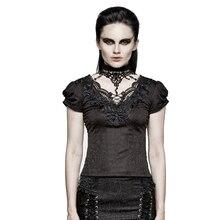 Женская готическая футболка с коротким рукавом PUNKRAVE, модная винтажная водолазка, романтичный кружевной жаккардовый Топ