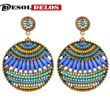 2019 Brand Boho Colorful Big Gem Crystal Gypsy Ethnic drop Earrings Vintage beads circle For Women Jewelry wholesale