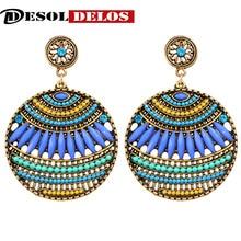 2019 Brand Boho Colorful Big Gem Crystal Gypsy Ethnic drop Earrings Vintage beads circle Earrings For Women Jewelry wholesale недорого