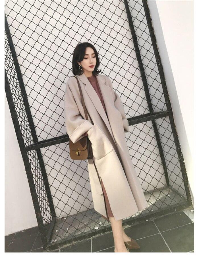 Liva girl Long Coat Winter Coat Women Belted Solid Coat Women's Jacket Women's 5 Colors Coat wool Coat 11