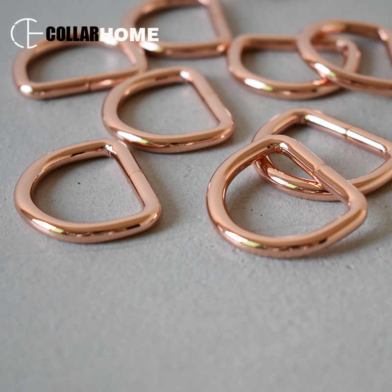 כבד החובה D-טבעות רוז זהב שרשרת קישור אטב 1 אינץ (25mm) DIY תרמיל רצועות תיק כלב חתול צווארון תפירת אביזרים