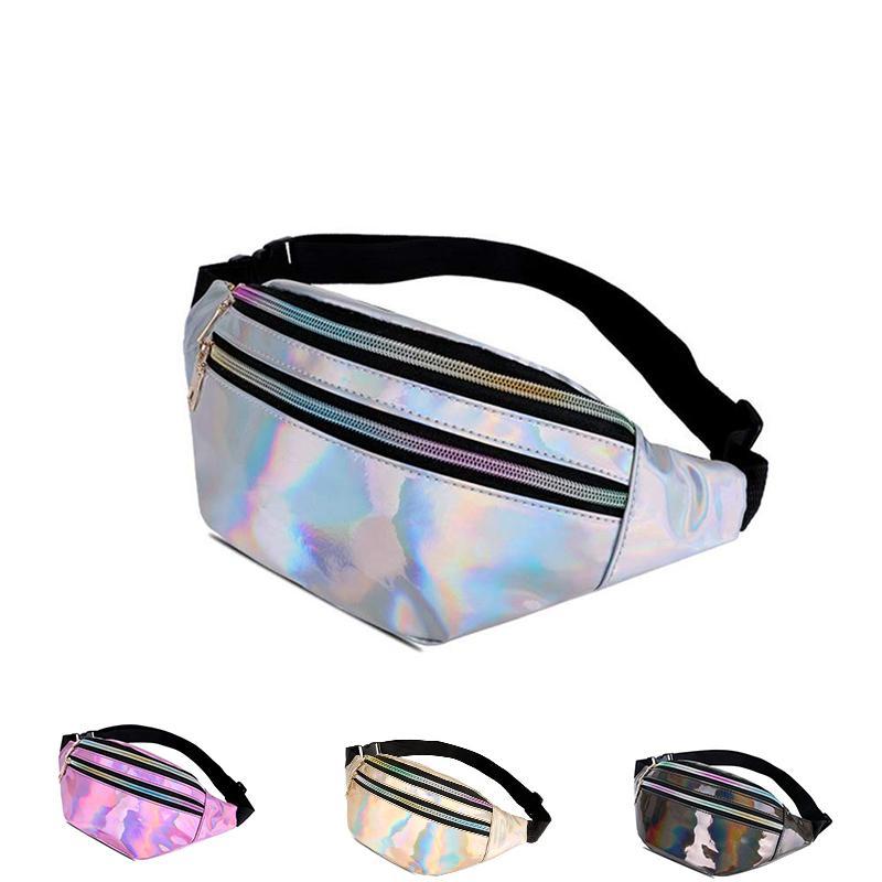Fashion Holographic Women Waist Packs Designer Laser Chest Waist Bags Silver Fanny Pack Shiny Belt Bag Wallet Bag Phone Pouch
