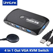 Unnlink 4X1 VGA KVM Switch 1080P Switcher Converter 4 Computer Laptor Share 1 Monitor 4 USB 2.0 for Mouse Keyboard Printer
