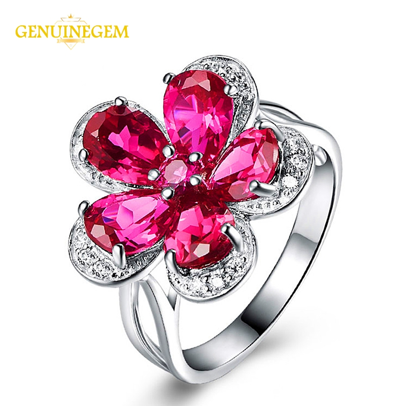 GENUINEGEM Bohemia 100% 925 Sterling Silver Natural Ruby Gemstone Wedding Engagement Finger Ring For Women Jewelry Accessories