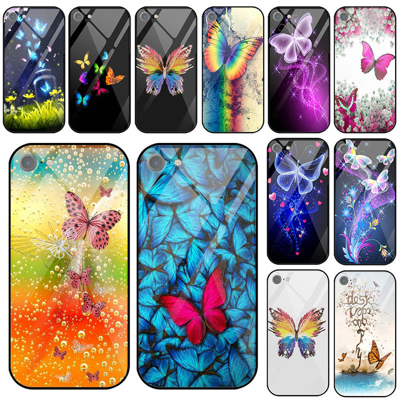<font><b>Tempered</b></font> <font><b>Glass</b></font> Phone <font><b>Case</b></font> for <font><b>Samsung</b></font> Galaxy A8 A6 A10 A20 A40 A50 <font><b>A70</b></font> A80 A8S A9S S8 S9 S10 S10E Plus Cute Butterfly Art Illust image