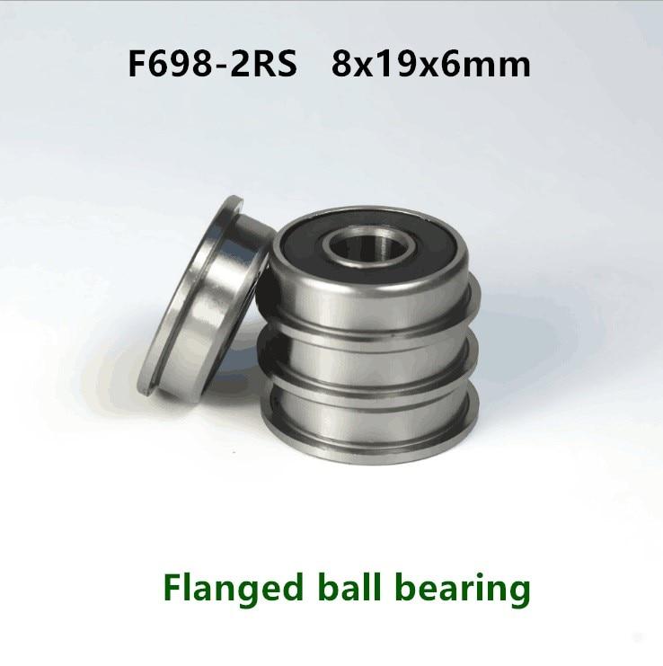 20pcs/100pcs F698-2RS Flanged Bearing  8*19*6 Miniature Flange Deep Groove Ball Bearings F698 RS 8x19x6 Mm