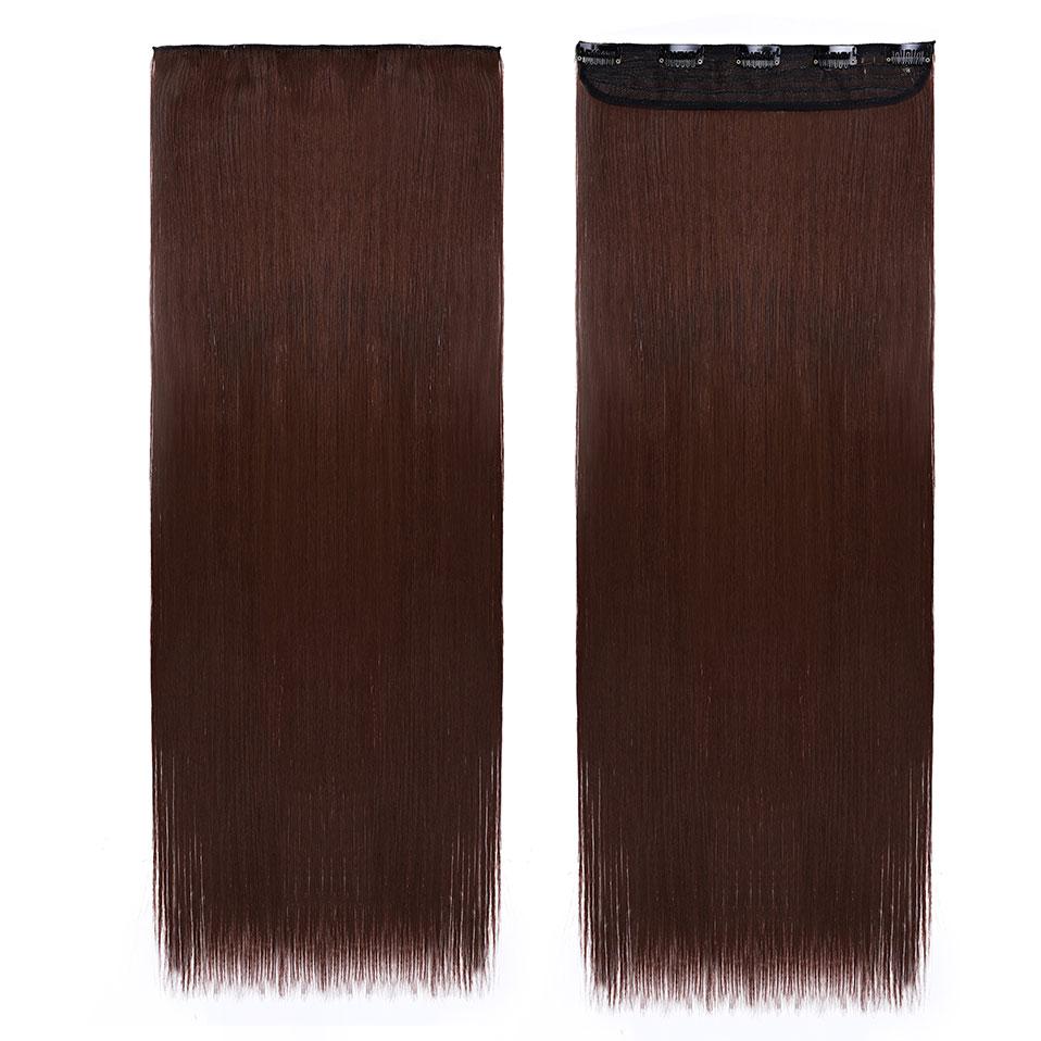 S-noilite, накладные волосы на заколках, черный, коричневый, натуральные, прямые, 58-76 см, длинные, высокая температура, синтетические волосы для наращивания, шиньон - Цвет: dark auburn