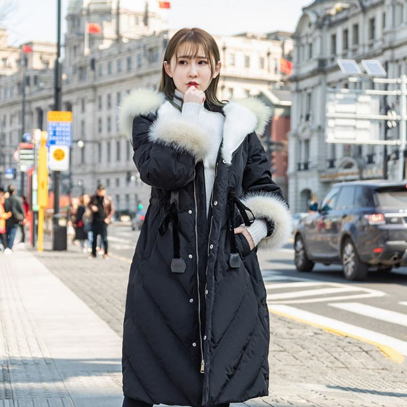 Women 2019 Winter   Down   Parka   Coat   Real Fox Fur Collar Hooded Outwear Female Warm Long Overcoat 90% White Duck   Down   Jackets N136