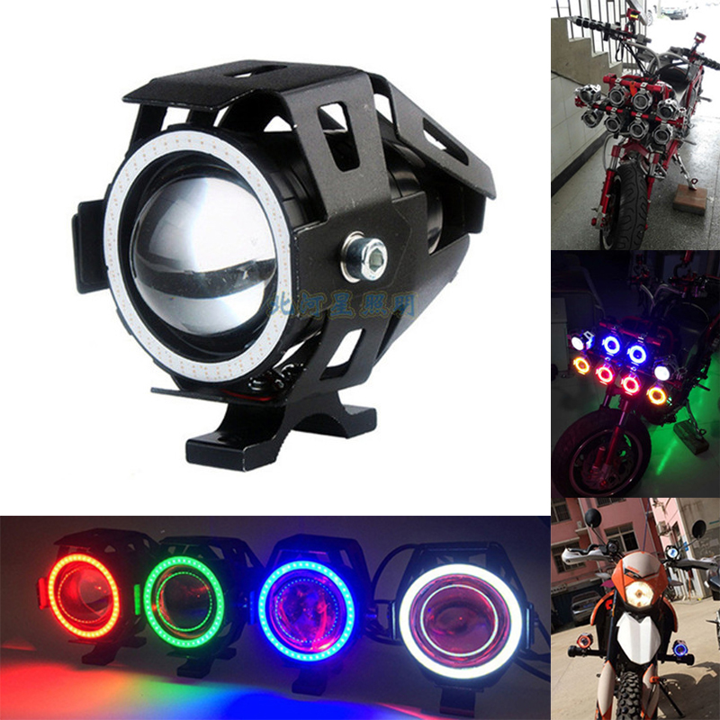 2Pcs 125W U7 Motorcycle LED Headlight With Angel Eyes DRL Spotlights Auxiliary Light Bicycle Lamp Accessories Fog Spot Lights