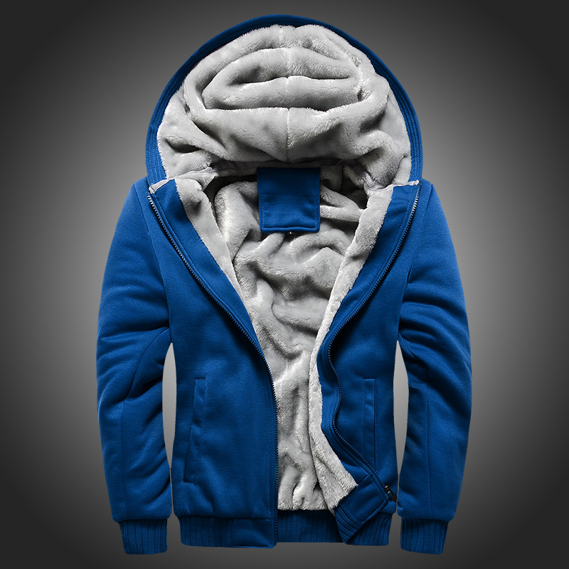 Мужская шерстяная бейсбольная Повседневная Хип хоп толстовка на молнии, пальто, зимние плотные теплые бархатные мужские плюшевые толстовк... - 2