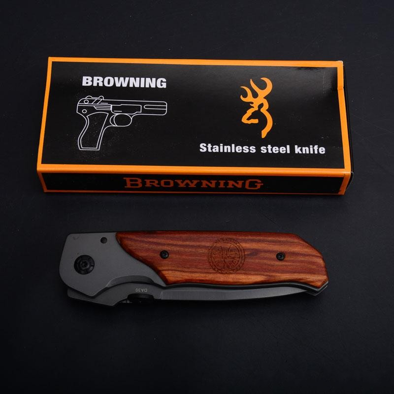 Free Shipping Browning Folding Knife Titanium Surface Rosewood Handle Tactical Combat Knives Camping Fishing Hunting Knife