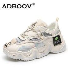 Adboov 2020 nova moda feminina tênis plus size 41 42 altura aumentada 6cm grossos sapatos casuais senhoras