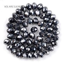 "Faceted Plant AB Rondelle Black Austrian Crystal Glass Loose Beads 15"" Pick 4-12mm Spacer Beads For Necklace Jewelry Making 5meter faceted glass rondelle beads chains gold plated wire wrapped loop black glass rosary chain necklace bracelet charms"