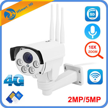 5MP 4G 3G SIM Card Camera Wifi Outdoor PTZ HD 1080P Bullet Camera Wireless IR 60M 10X Zoom Auto Focus CCTV Wifi IP Camera Audio