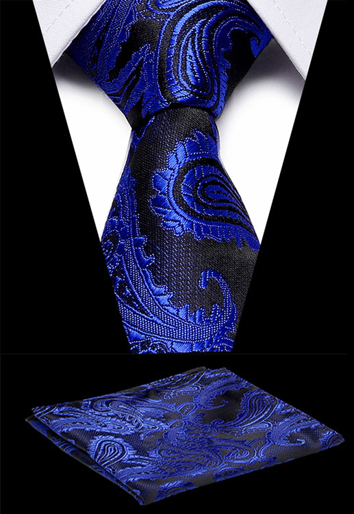 Luxury Men`s Classic Tie 100% Silk Novelty Geometric Tie Handkerchief Sets For Men`s Wedding Business Party Formal Dress Necktie