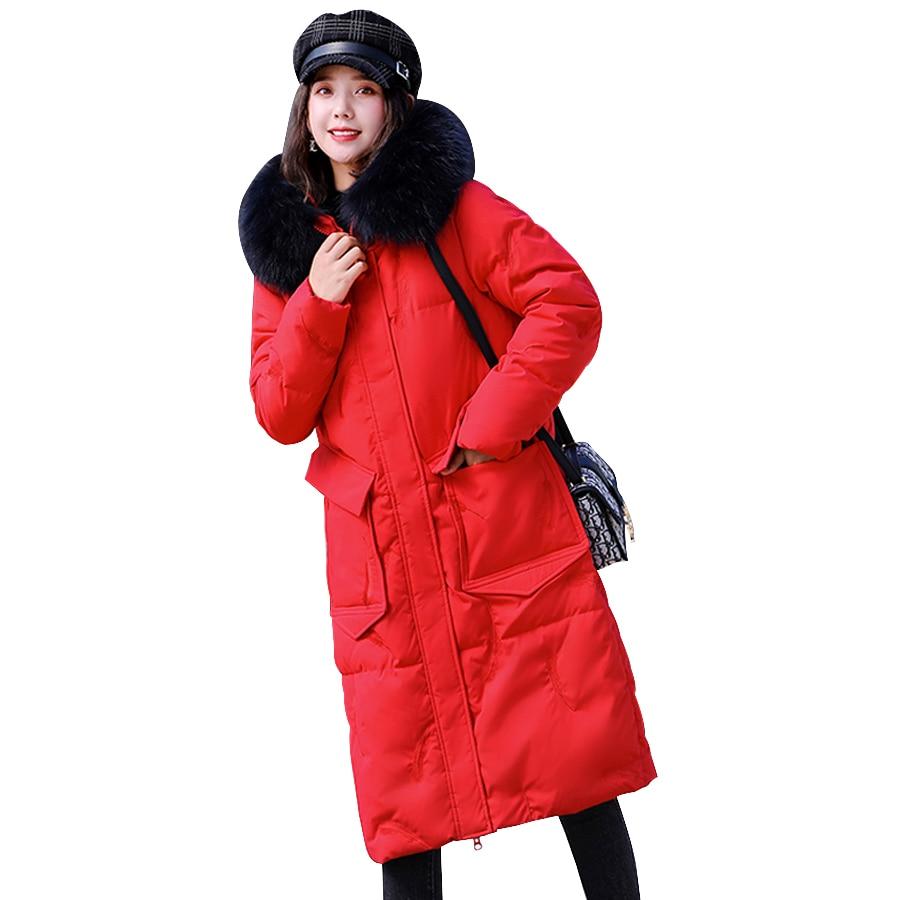 Women winter coat 2020 cotton wadded warm fur collar hooded long outwear female parka  jacket women plus size chaqueta mujer