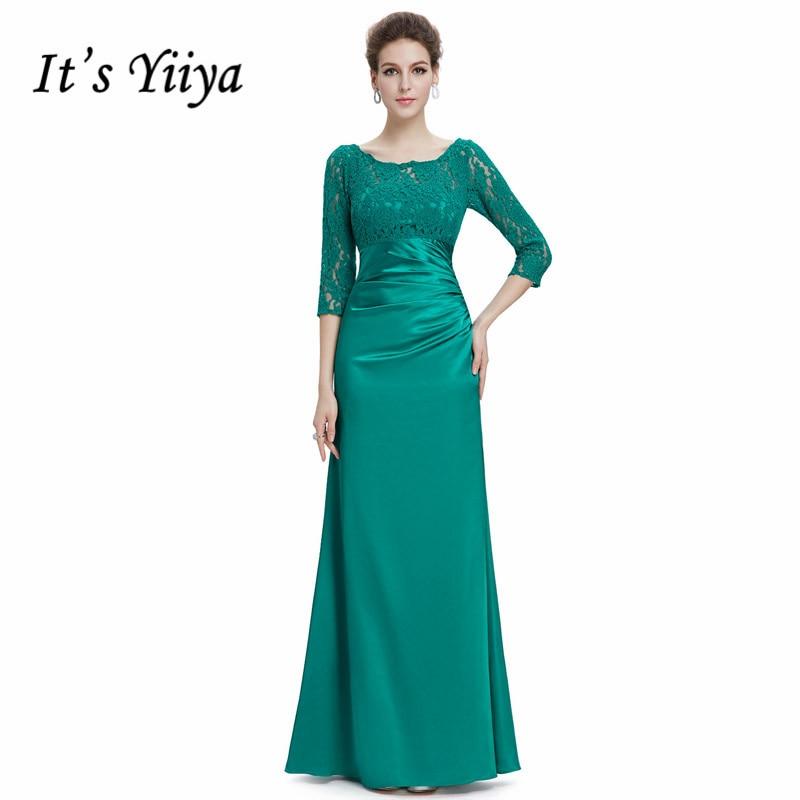 It's Yiiya Evening Dress O-neck Lace Mermaid Women Party Dresses Three Quarter Sleeve Hollow Floor Length Robe De Soiree C425