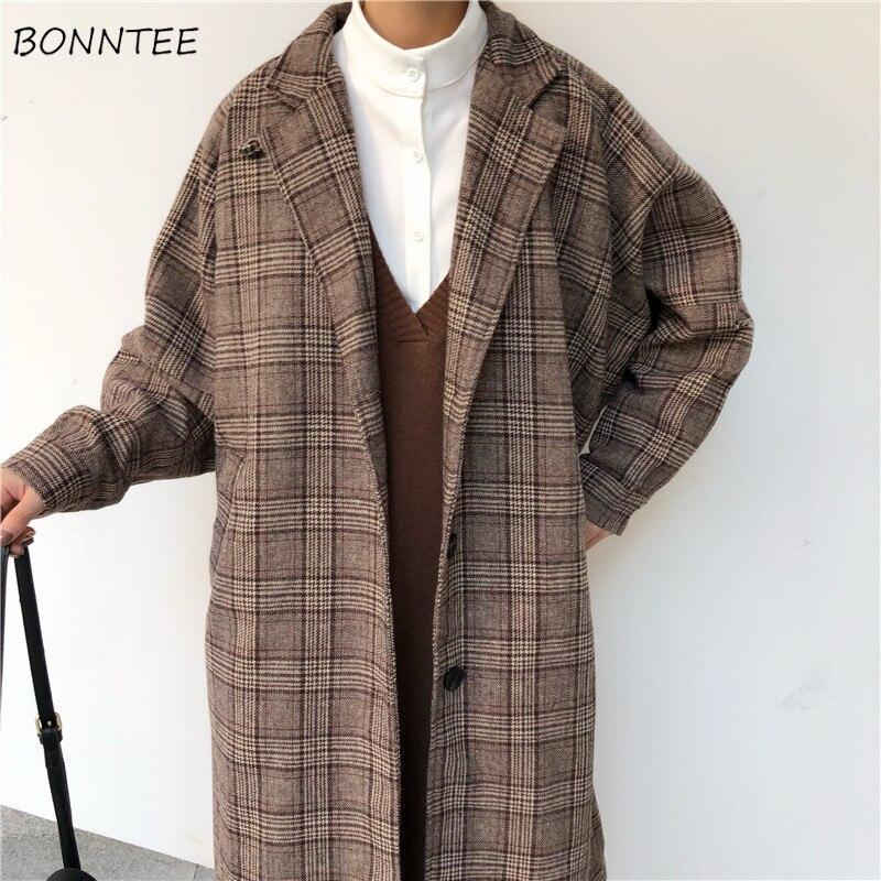 Blends Women Plaid Long Coat Pockets Single Breasted Simple Elegant Loose Ladies Streetwear All-match Womens Woolen Outwear Chic