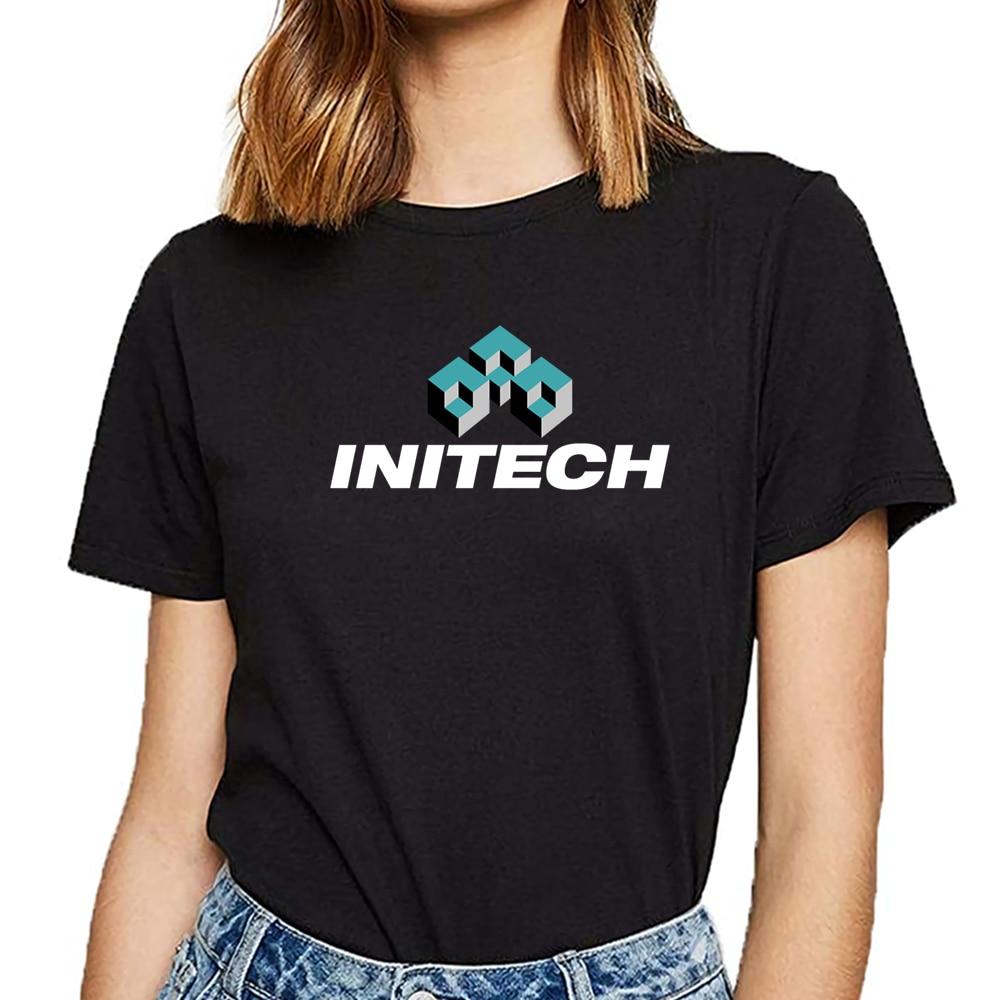 Tops T Shirt Women Initech Logo Funny Vintage Cotton Female Tshirt