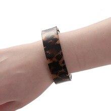 Simple abierto brazalete acrílico pulseras leopardo estampado joyería para mujeres chicas Punk estilo resina brazalete novia fiesta regalos