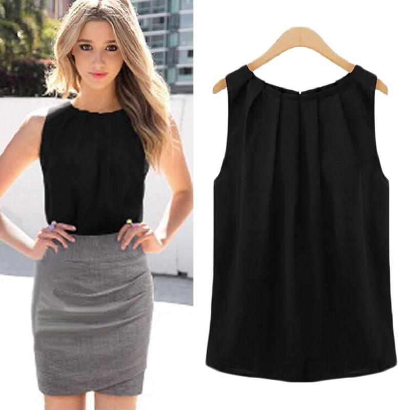 2019 Chiffon Women Cool Summer Blouse Black White Sleeveless Wooden Ear Solid Casual Style Round Neck Elegant Shirt Large Size