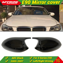 цена на M3 Look ABS Glossy Black 1:1 Replacement For BMW E90 3 Series 323i 325i 325ci 328 Sedan Mirror Cover Cap Add on Style 2005-2007