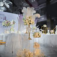 10pcs/lot Metal And Crystal Gold Flower Stand for Weddings Table Centerpiece Wedding Decoration Material Flower Vase