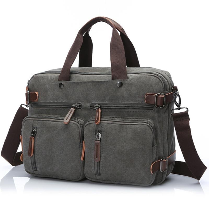 Business Backpack for Men vintage leather canvas backpack school bag men's travel bags large capacity travel laptop backpack bag
