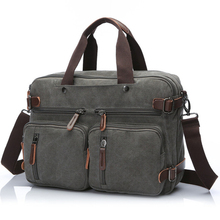 Business Backpack for Men vintage leather canvas backpack school bag men's travel bags large capacity travel laptop backpack bag недорого